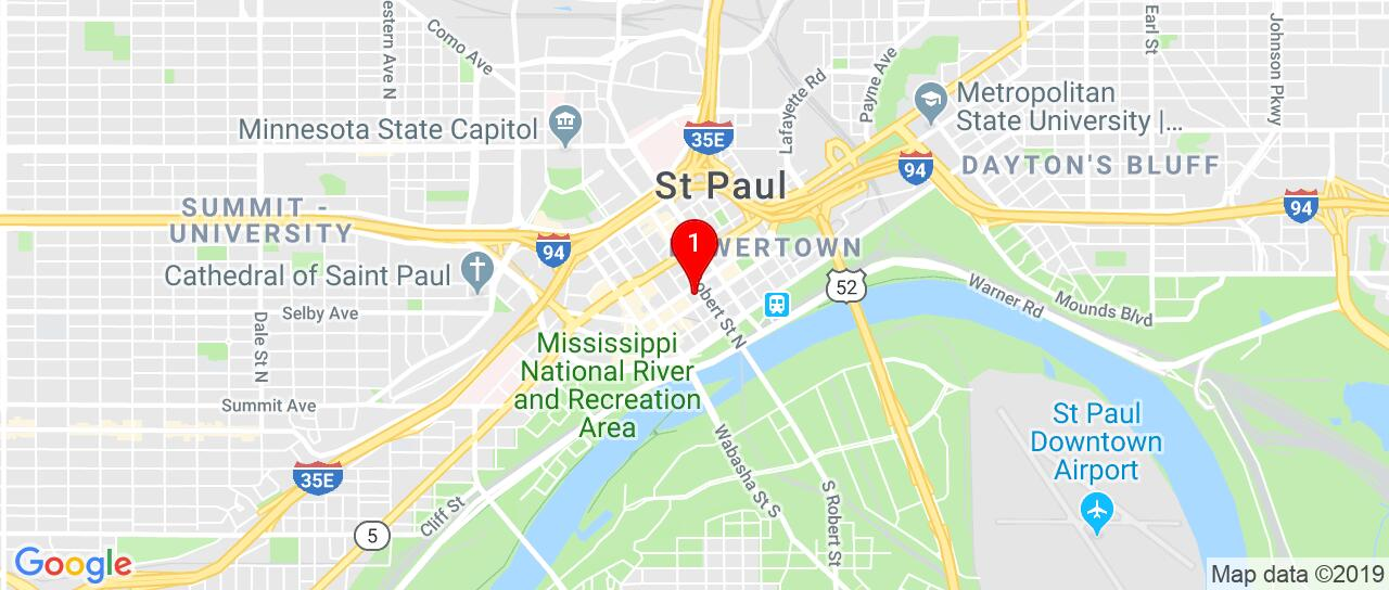 Google Map of 101+Fifth+Street+East+Saint+Paul,+MN+55101