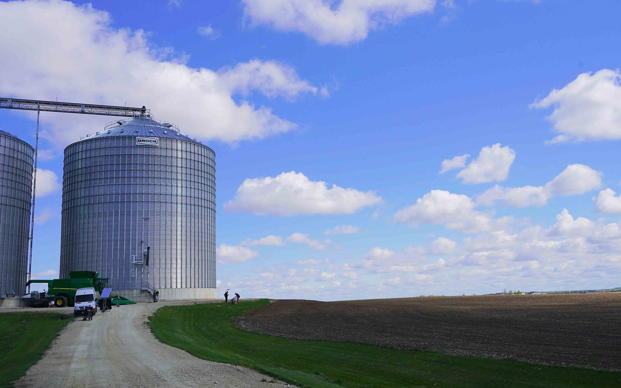 Two grain bins on a Minnesota farm
