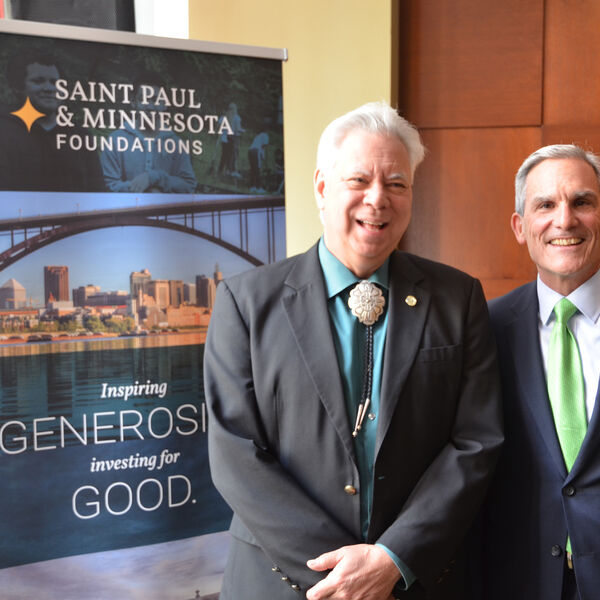 Eric Jolly, Ph.D., and Tim Marx together at Catholic Charities event